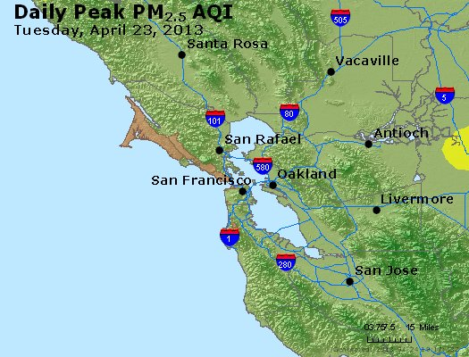 Peak Particles PM<sub>2.5</sub> (24-hour) - http://files.airnowtech.org/airnow/2013/20130423/peak_pm25_sanfrancisco_ca.jpg