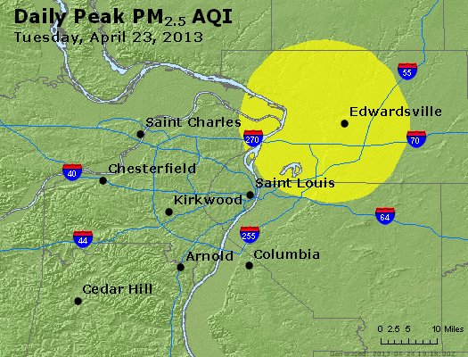 Peak Particles PM<sub>2.5</sub> (24-hour) - http://files.airnowtech.org/airnow/2013/20130423/peak_pm25_stlouis_mo.jpg