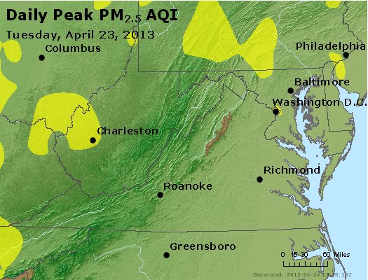 Peak Particles PM<sub>2.5</sub> (24-hour) - http://files.airnowtech.org/airnow/2013/20130423/peak_pm25_va_wv_md_de_dc.jpg