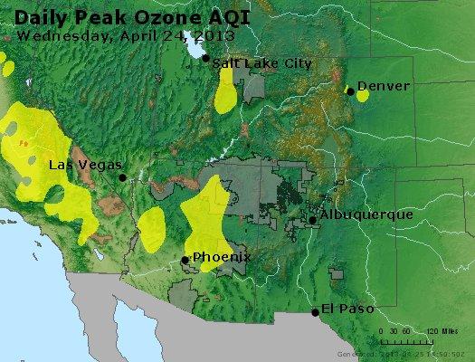 Peak Ozone (8-hour) - http://files.airnowtech.org/airnow/2013/20130424/peak_o3_co_ut_az_nm.jpg