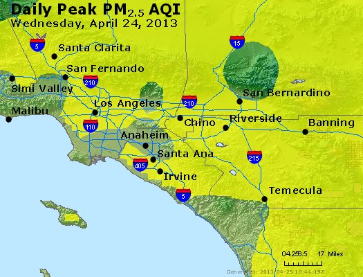 Peak Particles PM<sub>2.5</sub> (24-hour) - http://files.airnowtech.org/airnow/2013/20130424/peak_pm25_losangeles_ca.jpg