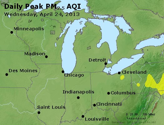 Peak Particles PM<sub>2.5</sub> (24-hour) - http://files.airnowtech.org/airnow/2013/20130424/peak_pm25_mi_in_oh.jpg