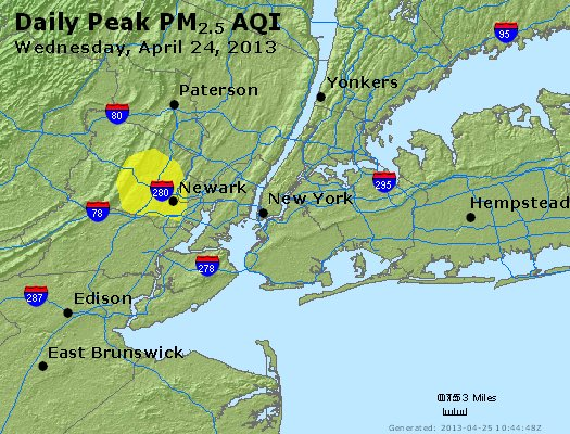 Peak Particles PM<sub>2.5</sub> (24-hour) - http://files.airnowtech.org/airnow/2013/20130424/peak_pm25_newyork_ny.jpg