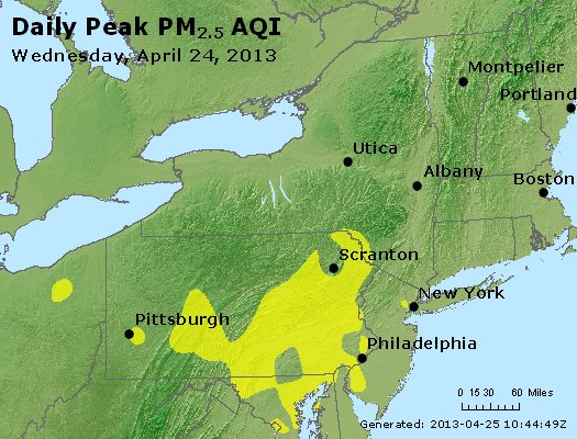 Peak Particles PM<sub>2.5</sub> (24-hour) - http://files.airnowtech.org/airnow/2013/20130424/peak_pm25_ny_pa_nj.jpg