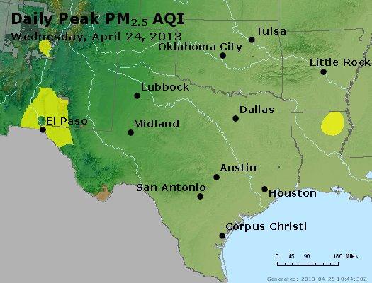 Peak Particles PM<sub>2.5</sub> (24-hour) - http://files.airnowtech.org/airnow/2013/20130424/peak_pm25_tx_ok.jpg