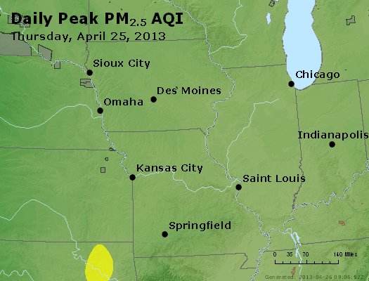 Peak Particles PM<sub>2.5</sub> (24-hour) - http://files.airnowtech.org/airnow/2013/20130425/peak_pm25_ia_il_mo.jpg