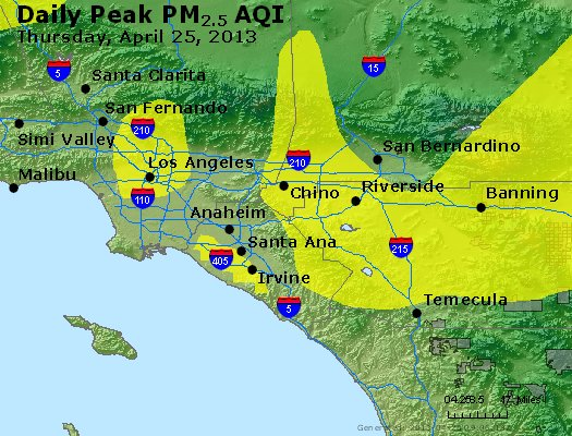 Peak Particles PM<sub>2.5</sub> (24-hour) - http://files.airnowtech.org/airnow/2013/20130425/peak_pm25_losangeles_ca.jpg