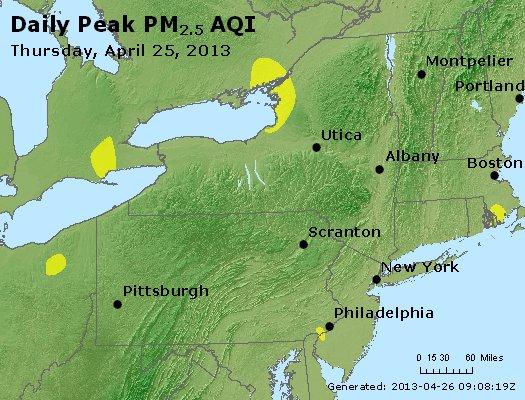 Peak Particles PM<sub>2.5</sub> (24-hour) - http://files.airnowtech.org/airnow/2013/20130425/peak_pm25_ny_pa_nj.jpg