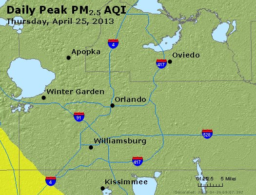 Peak Particles PM<sub>2.5</sub> (24-hour) - http://files.airnowtech.org/airnow/2013/20130425/peak_pm25_orlando_fl.jpg
