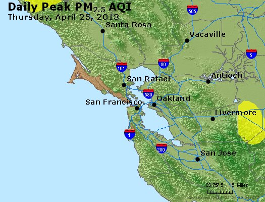 Peak Particles PM<sub>2.5</sub> (24-hour) - http://files.airnowtech.org/airnow/2013/20130425/peak_pm25_sanfrancisco_ca.jpg