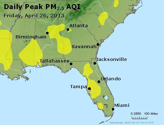 Peak Particles PM<sub>2.5</sub> (24-hour) - http://files.airnowtech.org/airnow/2013/20130426/peak_pm25_al_ga_fl.jpg