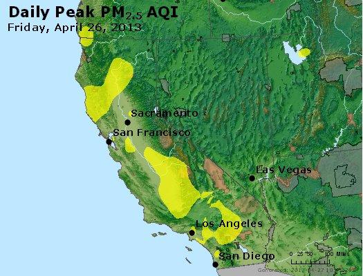 Peak Particles PM<sub>2.5</sub> (24-hour) - http://files.airnowtech.org/airnow/2013/20130426/peak_pm25_ca_nv.jpg