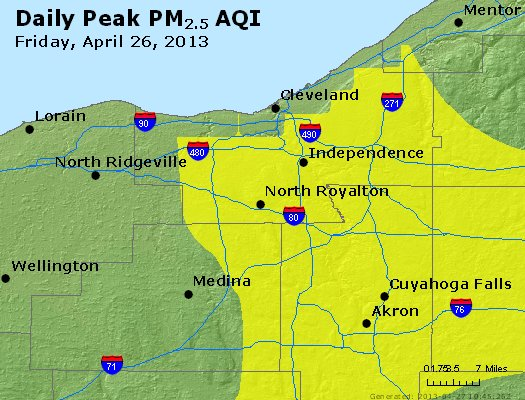 Peak Particles PM<sub>2.5</sub> (24-hour) - http://files.airnowtech.org/airnow/2013/20130426/peak_pm25_cleveland_oh.jpg