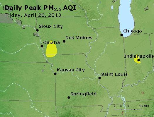 Peak Particles PM<sub>2.5</sub> (24-hour) - http://files.airnowtech.org/airnow/2013/20130426/peak_pm25_ia_il_mo.jpg