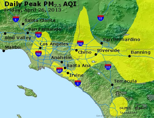 Peak Particles PM<sub>2.5</sub> (24-hour) - http://files.airnowtech.org/airnow/2013/20130426/peak_pm25_losangeles_ca.jpg