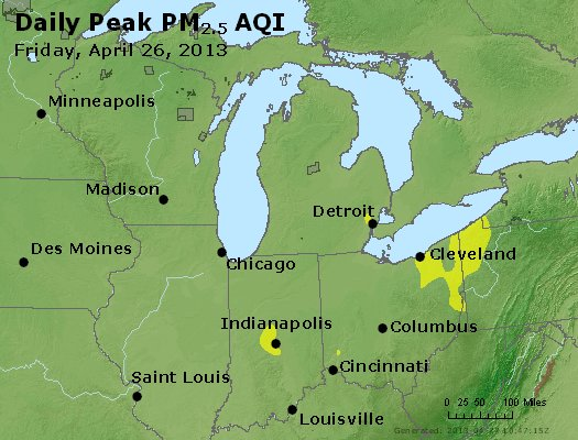 Peak Particles PM<sub>2.5</sub> (24-hour) - http://files.airnowtech.org/airnow/2013/20130426/peak_pm25_mi_in_oh.jpg