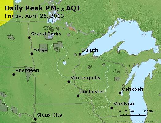 Peak Particles PM<sub>2.5</sub> (24-hour) - http://files.airnowtech.org/airnow/2013/20130426/peak_pm25_mn_wi.jpg