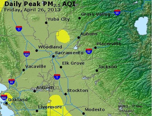 Peak Particles PM<sub>2.5</sub> (24-hour) - http://files.airnowtech.org/airnow/2013/20130426/peak_pm25_sacramento_ca.jpg
