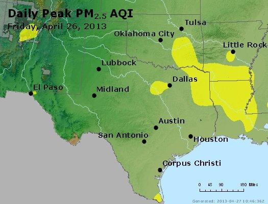 Peak Particles PM<sub>2.5</sub> (24-hour) - http://files.airnowtech.org/airnow/2013/20130426/peak_pm25_tx_ok.jpg