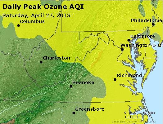 Peak Ozone (8-hour) - http://files.airnowtech.org/airnow/2013/20130427/peak_o3_va_wv_md_de_dc.jpg