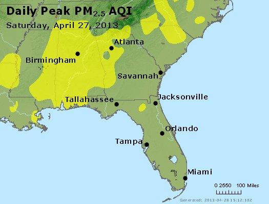 Peak Particles PM<sub>2.5</sub> (24-hour) - http://files.airnowtech.org/airnow/2013/20130427/peak_pm25_al_ga_fl.jpg