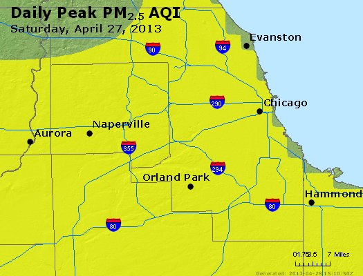 Peak Particles PM<sub>2.5</sub> (24-hour) - http://files.airnowtech.org/airnow/2013/20130427/peak_pm25_chicago_il.jpg