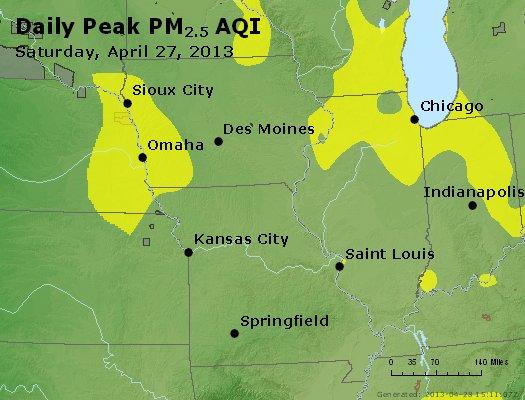 Peak Particles PM<sub>2.5</sub> (24-hour) - http://files.airnowtech.org/airnow/2013/20130427/peak_pm25_ia_il_mo.jpg