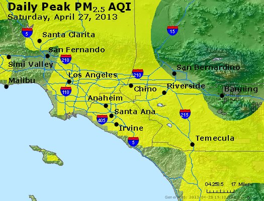 Peak Particles PM<sub>2.5</sub> (24-hour) - http://files.airnowtech.org/airnow/2013/20130427/peak_pm25_losangeles_ca.jpg