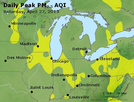 Peak Particles PM<sub>2.5</sub> (24-hour) - http://files.airnowtech.org/airnow/2013/20130427/peak_pm25_mi_in_oh.jpg