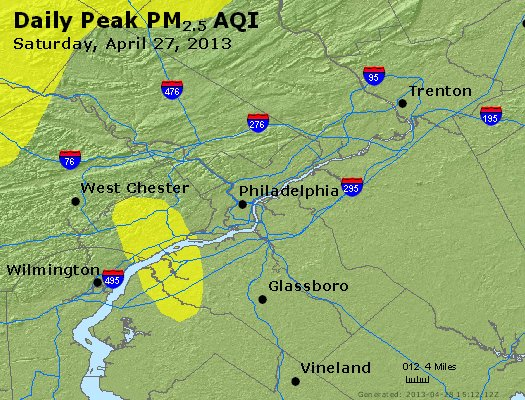 Peak Particles PM<sub>2.5</sub> (24-hour) - http://files.airnowtech.org/airnow/2013/20130427/peak_pm25_philadelphia_pa.jpg