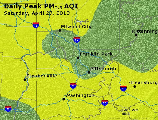 Peak Particles PM<sub>2.5</sub> (24-hour) - http://files.airnowtech.org/airnow/2013/20130427/peak_pm25_pittsburgh_pa.jpg
