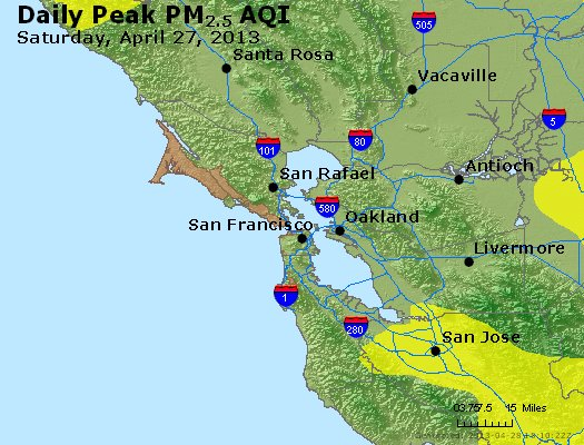 Peak Particles PM<sub>2.5</sub> (24-hour) - http://files.airnowtech.org/airnow/2013/20130427/peak_pm25_sanfrancisco_ca.jpg