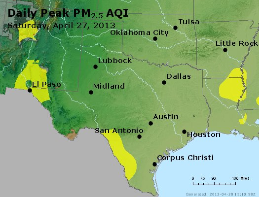 Peak Particles PM<sub>2.5</sub> (24-hour) - http://files.airnowtech.org/airnow/2013/20130427/peak_pm25_tx_ok.jpg