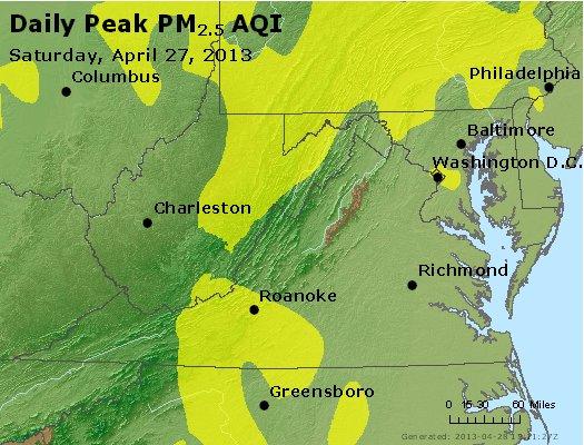 Peak Particles PM<sub>2.5</sub> (24-hour) - http://files.airnowtech.org/airnow/2013/20130427/peak_pm25_va_wv_md_de_dc.jpg