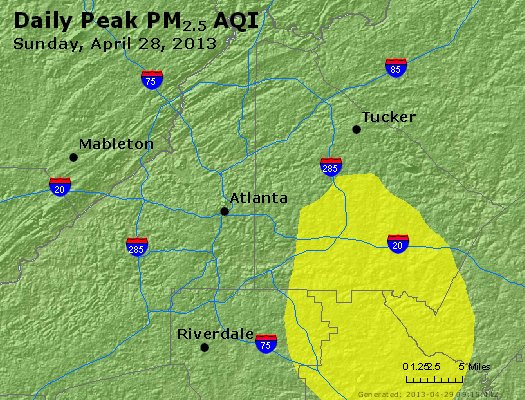 Peak Particles PM<sub>2.5</sub> (24-hour) - http://files.airnowtech.org/airnow/2013/20130428/peak_pm25_atlanta_ga.jpg
