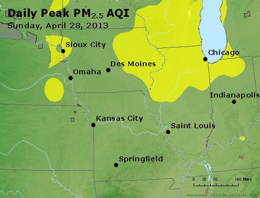 Peak Particles PM<sub>2.5</sub> (24-hour) - http://files.airnowtech.org/airnow/2013/20130428/peak_pm25_ia_il_mo.jpg