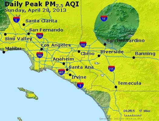 Peak Particles PM<sub>2.5</sub> (24-hour) - http://files.airnowtech.org/airnow/2013/20130428/peak_pm25_losangeles_ca.jpg