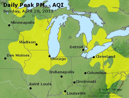 Peak Particles PM<sub>2.5</sub> (24-hour) - http://files.airnowtech.org/airnow/2013/20130428/peak_pm25_mi_in_oh.jpg