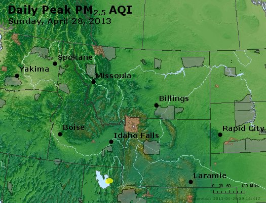 Peak Particles PM<sub>2.5</sub> (24-hour) - http://files.airnowtech.org/airnow/2013/20130428/peak_pm25_mt_id_wy.jpg