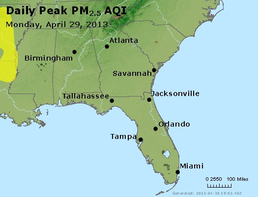 Peak Particles PM<sub>2.5</sub> (24-hour) - http://files.airnowtech.org/airnow/2013/20130429/peak_pm25_al_ga_fl.jpg