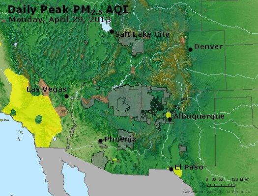 Peak Particles PM<sub>2.5</sub> (24-hour) - http://files.airnowtech.org/airnow/2013/20130429/peak_pm25_co_ut_az_nm.jpg