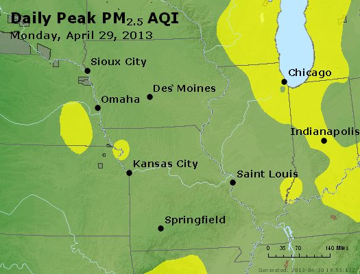 Peak Particles PM<sub>2.5</sub> (24-hour) - http://files.airnowtech.org/airnow/2013/20130429/peak_pm25_ia_il_mo.jpg