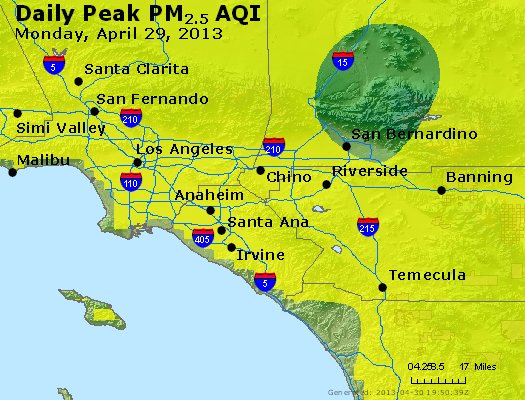 Peak Particles PM<sub>2.5</sub> (24-hour) - http://files.airnowtech.org/airnow/2013/20130429/peak_pm25_losangeles_ca.jpg
