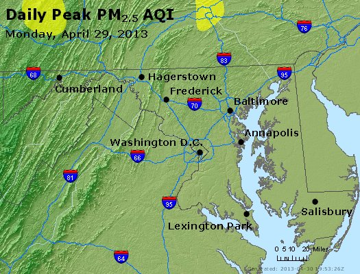 Peak Particles PM<sub>2.5</sub> (24-hour) - http://files.airnowtech.org/airnow/2013/20130429/peak_pm25_maryland.jpg