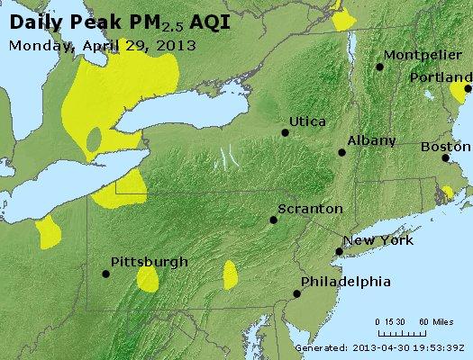 Peak Particles PM<sub>2.5</sub> (24-hour) - http://files.airnowtech.org/airnow/2013/20130429/peak_pm25_ny_pa_nj.jpg
