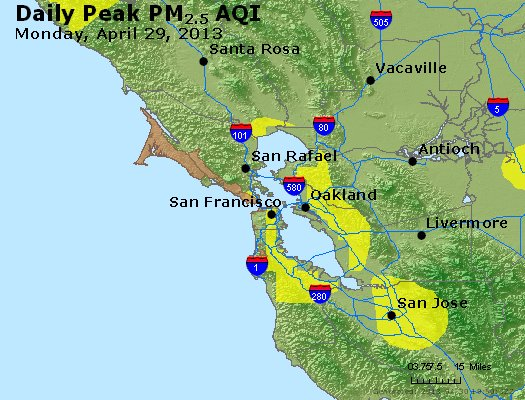 Peak Particles PM<sub>2.5</sub> (24-hour) - http://files.airnowtech.org/airnow/2013/20130429/peak_pm25_sanfrancisco_ca.jpg