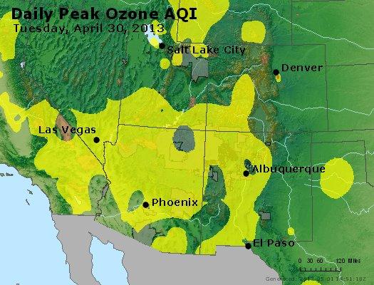 Peak Ozone (8-hour) - http://files.airnowtech.org/airnow/2013/20130430/peak_o3_co_ut_az_nm.jpg