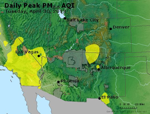 Peak Particles PM<sub>2.5</sub> (24-hour) - http://files.airnowtech.org/airnow/2013/20130430/peak_pm25_co_ut_az_nm.jpg