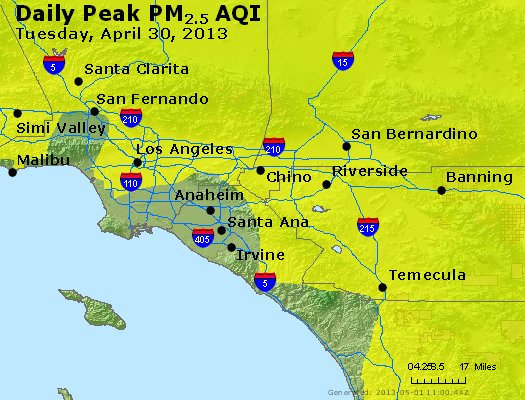 Peak Particles PM<sub>2.5</sub> (24-hour) - http://files.airnowtech.org/airnow/2013/20130430/peak_pm25_losangeles_ca.jpg