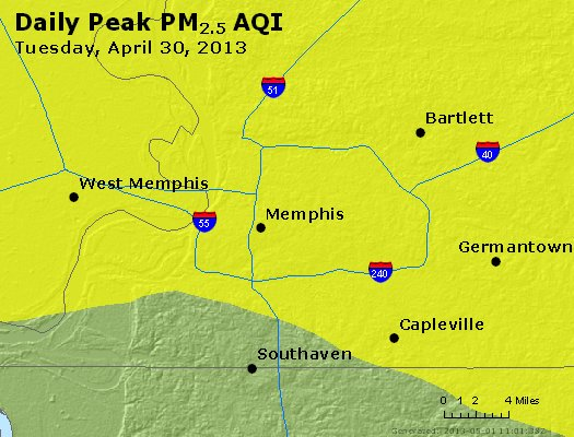 Peak Particles PM<sub>2.5</sub> (24-hour) - http://files.airnowtech.org/airnow/2013/20130430/peak_pm25_memphis_tn.jpg